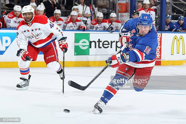 T Miller of the New York Rangers shoots the puck against the Washington Capitals in Game Two of the Eastern Conference Semifinals during the 2015 NHL...
