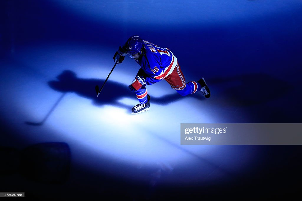 T Miller of the New York Rangers skates against the Tampa Bay Lightning prior to Game Two of the Eastern Conference Finals during the 2015 NHL...