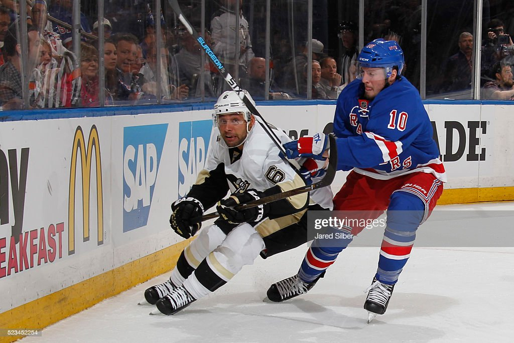 T Miller of the New York Rangers skates against Trevor Daley of the Pittsburgh Penguins in Game Three of the Eastern Conference First Round during...