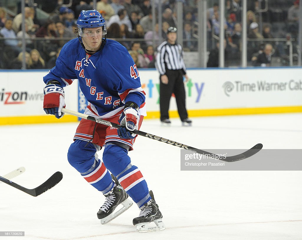 J.T. Miller #47 of the New York Rangers skates during the second period against the New York Islanders on February 14, 2013 at Madison Square Garden in New York City.