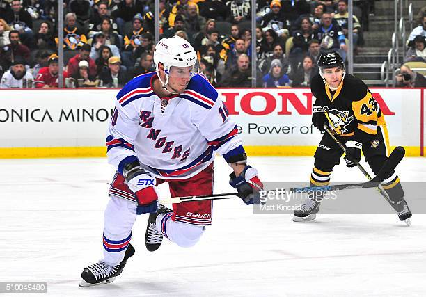 JT Miller of the New York Rangers skates on the ice against the Pittsburgh Penguins during a game at Consol Energy Center on February 10 2016 in...