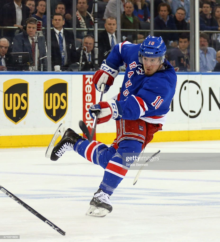 T Miller of the New York Rangers takes a slapshot against the Pittsburgh Penguins in Game Five of the Eastern Conference Quarterfinals during the...