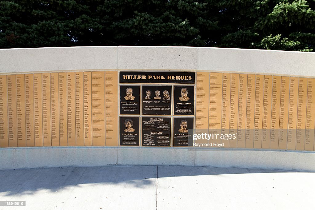 Miller Park Heroes monument sits outside Miller Park home of the Milwaukee Brewers baseball team on September 13 2015 in Milwaukee Wisconsin