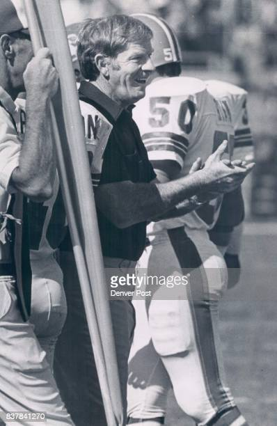 Red Miller Cheers Thompsons Touchdown on a Tony Dorsett Fumble Late In Second Quarter It was A Day For Smiles For Red Miller Bronco head coach...