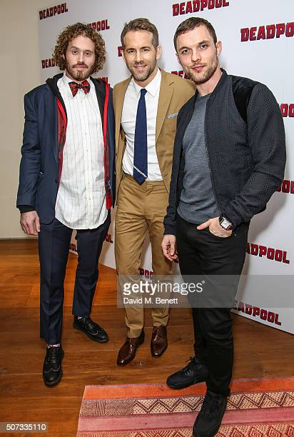 J Miller Ryan Reynolds and Ed Skrein attend a fan screening of 'Deadpool' at The Soho Hotel on January 28 2016 in London England