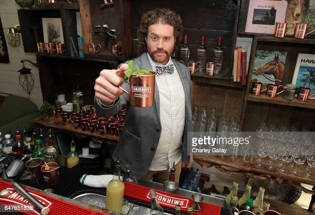 J Miller toasts Smirnoff Moscow Mules to the first official National Moscow Mule Day at Fairmont Miramar Hotel on March 3 2017 in Santa Monica...