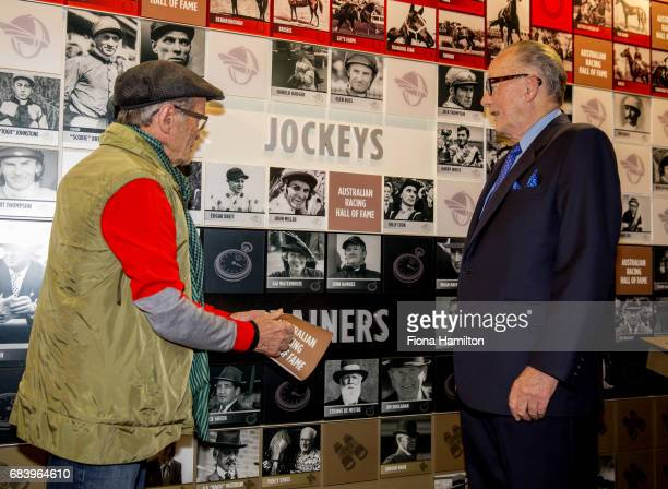 JJ Miller unveils his plaque with Lloyd Williams at National Sports Museum on May 17 2017 in Melbourne Australia
