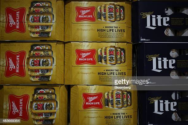 MillerCoors LLC brand Miller High Life and Miller Lite beer sits on a delivery truck at the Stagnaro Distributing Inc facility in Cincinnati Ohio US...