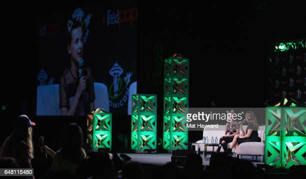 Millie Bobby Brown and Clare Kramer speak on stage during Emerald City Comic Con at Washington State Convention Center on March 4 2017 in Seattle...