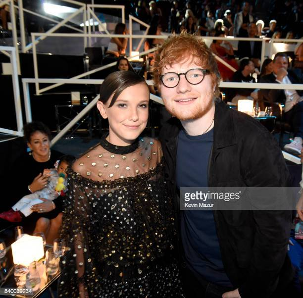Millie Bobby Brown and Ed Sheeran attend the 2017 MTV Video Music Awards at The Forum on August 27 2017 in Inglewood California