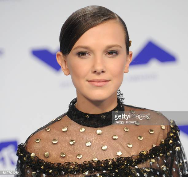 Millie Bobby Brown arrives at the 2017 MTV Video Music Awards at The Forum on August 27 2017 in Inglewood California