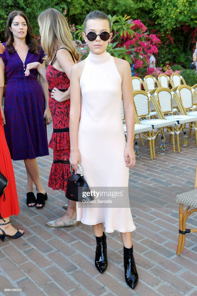Millie Bobby Brown attends CFDA/Vogue Fashion Fund Show and Tea at Chateau Marmont at Chateau Marmont on October 25, 2017 in Los Angeles, California.