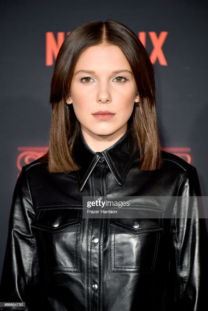 Millie Bobby Brown attends the premiere of Netflix's 'Stranger Things' Season 2 at Regency Bruin Theatre on October 26, 2017 in Los Angeles, California.