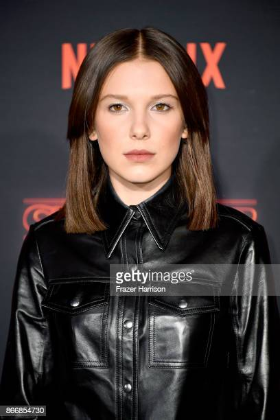 Millie Bobby Brown attends the premiere of Netflix's 'Stranger Things' Season 2 at Regency Bruin Theatre on October 26 2017 in Los Angeles California