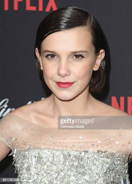 Millie Bobby Brown attends The Weinstein Company and Netflix Golden Globe Party presented with FIJI Water Grey Goose Vodka Lindt Chocolate and...