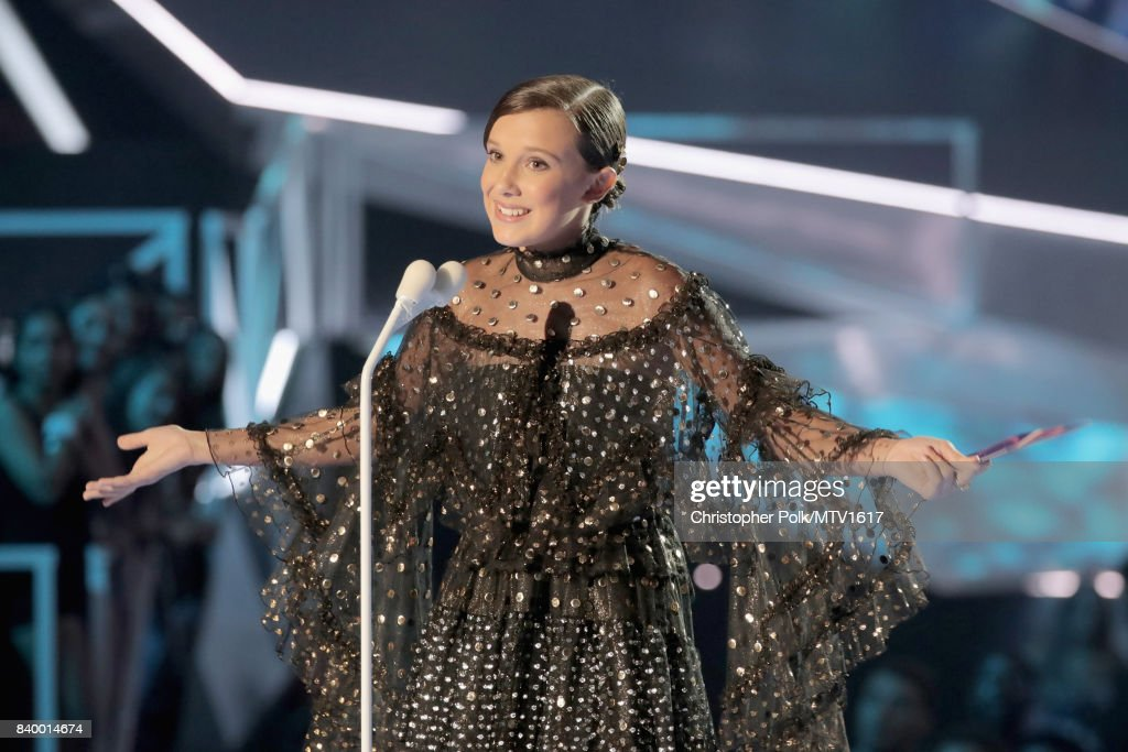 Millie Bobby Brown speaks onstage at the 2017 MTV Video Music Awards at The Forum on August 27, 2017 in Inglewood, California.