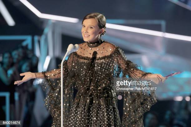 Millie Bobby Brown speaks onstage at the 2017 MTV Video Music Awards at The Forum on August 27 2017 in Inglewood California