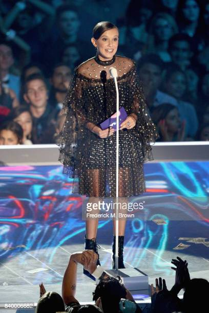 Millie Bobby Brown speaks onstage during the 2017 MTV Video Music Awards at The Forum on August 27 2017 in Inglewood California