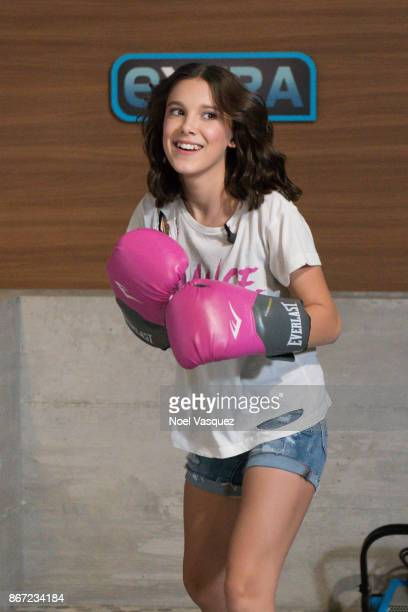 Millie Bobby Brown visits 'Extra' at Universal Studios Hollywood on October 27 2017 in Universal City California