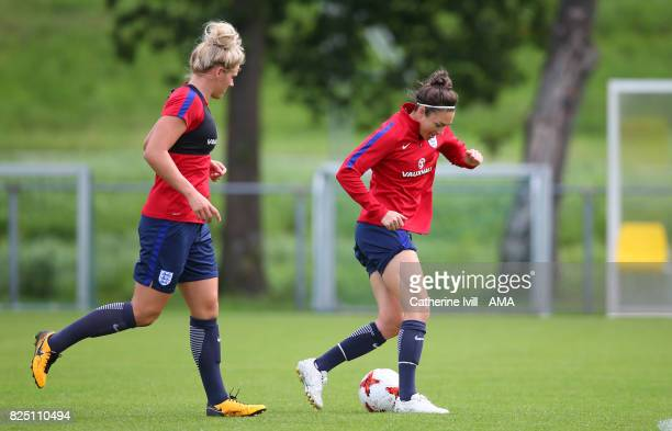 Millie Bright and Jodie Taylor of England Women during the England Training Session in Utrecht on August 1 2017 in Utrecht Netherlands