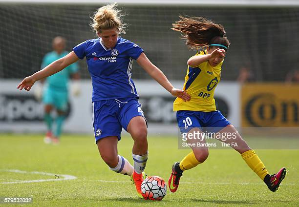 Millie Bright of Chelsea Ladies FC and Carla Humphrey of Doncaster Rovers Belles challenge for the ball during the FA WSL 1 match between Chelsea...