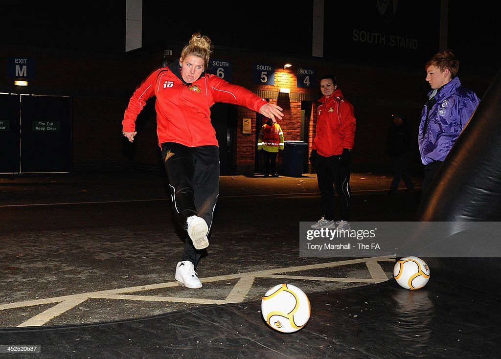 Millie Bright of Doncaster Rovers Belles taking part in the Continental Speed Cage at the FA Girls Fanzone before the UEFA Womens U17 Championship Finals match between England and Austria at Chesterfield FC Stadium on November 29, 2013 in Chesterfield, England.