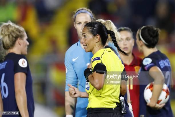 Millie Bright of England women goalkeeper Karen Bardsley of England women referee Carina Vitulano Alexia Putellas of Spain women Lucia Bronze of...