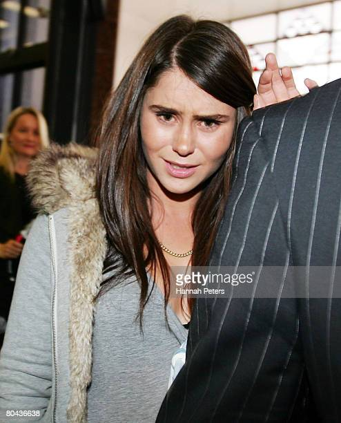 Millie Elder adopted daughter of broadcaster Paul Holmes leaves the Auckland District Court March 31 2008 in Auckland New Zealand Elder was sentenced...