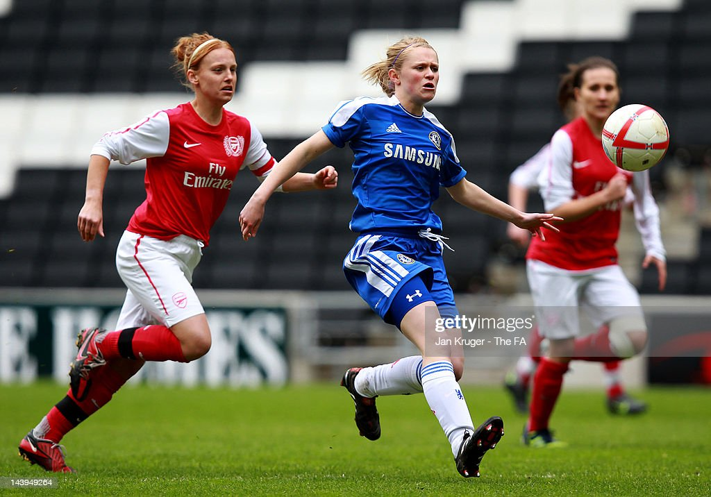 Millie Farrow of Chelsea battles for the ball with Molly Bartrip of Arsenal during the FA Girls' Youth Cup U17s Centre of Excellence Final between Arsenal and Chelsea at Stadium MK on May 6, 2012 in Milton Keynes, England.