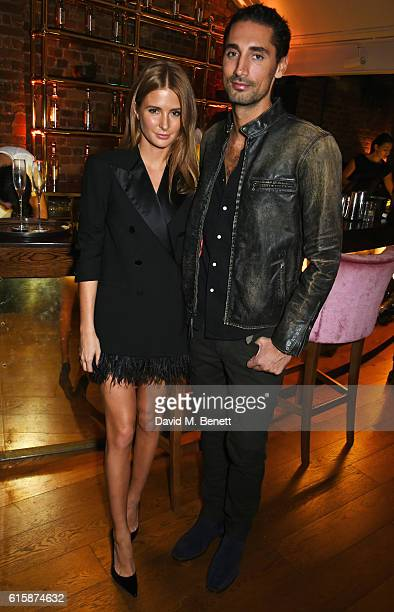 Millie Mackintosh and Hugo Taylor attend the Tatler Little Black Book party with Polo Ralph Lauren at Restaurant Ours on October 20 2016 in London...