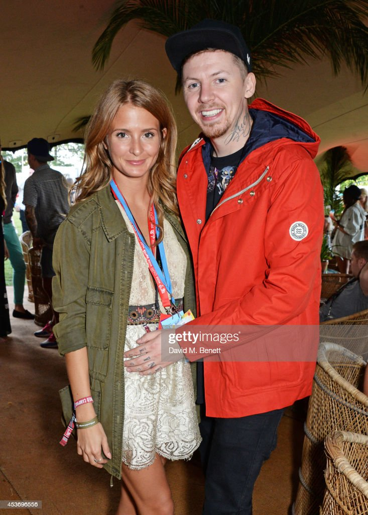 Millie Mackintosh and Professor Green attend the Mahiki Rum Bar for the launch of the Mahiki Rum Family backstage during day 1 of the V Festival 2014...
