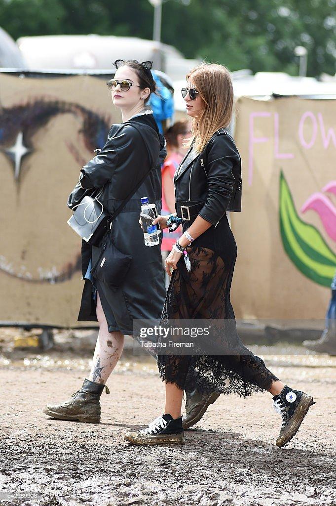 Millie Mackintosh wears Converse at Glastonbury Festival 2016 at Glastonbury Festival Site on June 25, 2016 in Glastonbury, England.
