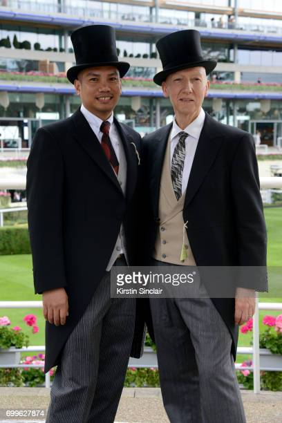 Milliner Stephen Jones and guest attend day 3 of Royal Ascot at Ascot Racecourse on June 22 2017 in Ascot England