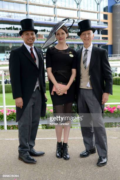 Milliner Stephen Jones Sophie Beale and guest attend day 3 of Royal Ascot at Ascot Racecourse on June 22 2017 in Ascot England