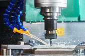 Milling metalworking process. Precision industrial CNC machining of metal detail by cutting mill at factory