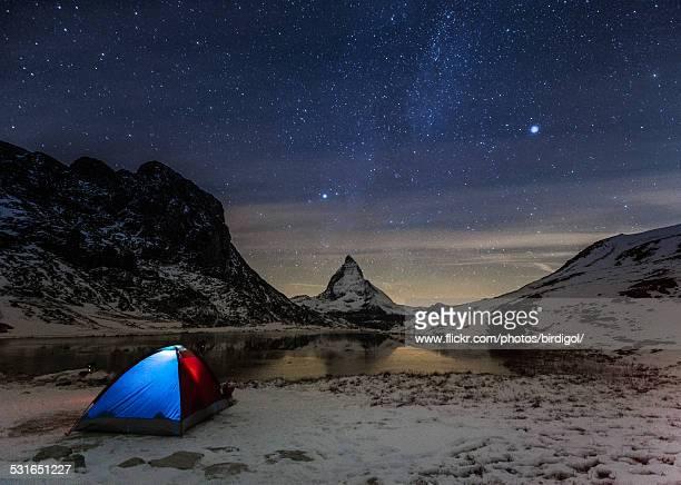 Million of stars over Matterhorn mountain