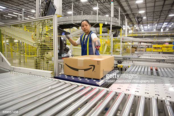 125 million square foot Amazon shipping center in Schertz Texas The fulfillment facility includes a proprietary 'robostow' robotic arm system and...