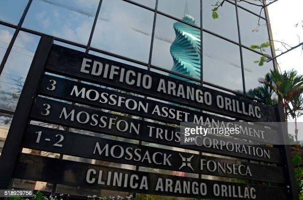 View of a sign outside the building where Panamabased Mossack Fonseca law firm offices are placed in Panama City on April 3 2016 A massive leak...