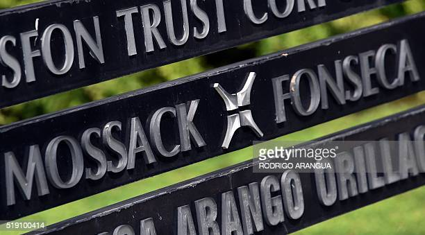 View of a sign outside the building where Panamabased Mossack Fonseca law firm offices are in Panama City on April 4 2016 A massive leak coming from...