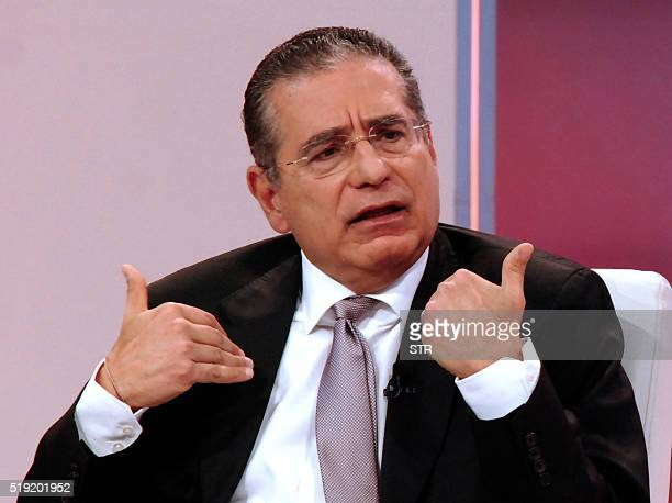 TOPSHOT Ramon Fonseca one of the founders of Panama's Mossack Fonseca law firm gestures during a TV interview with Telemetro in Panama City on April...