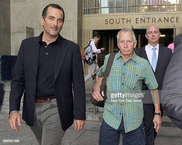 Millionaire Robert Durst leaves Manhattan Criminal Court with his lawyer Steven Rabinowitz on Friday August 16 2013 Durst had been arrested for...