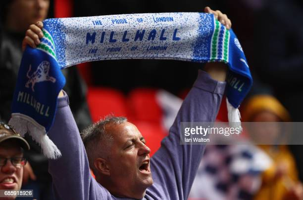 Millwall fan enjoys the atmosphere prior to the Sky Bet League One Playoff Final between Bradford City and Millwall at Wembley Stadium on May 20 2017...
