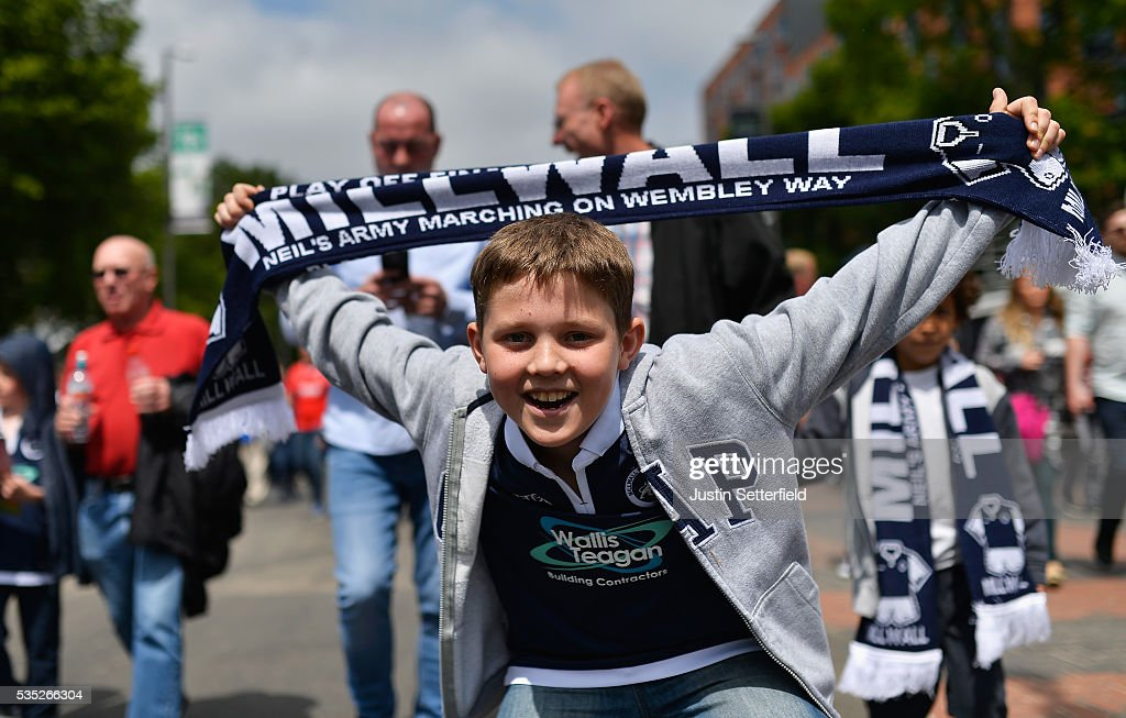 Millwall fans ahead of the Sky Bet League One Play Off Final between Barnsley and Millwall at Wembley Stadium on May 29, 2016 in London, England.