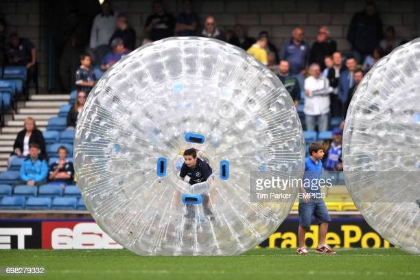 Millwall fans take part in zorbing at halftime