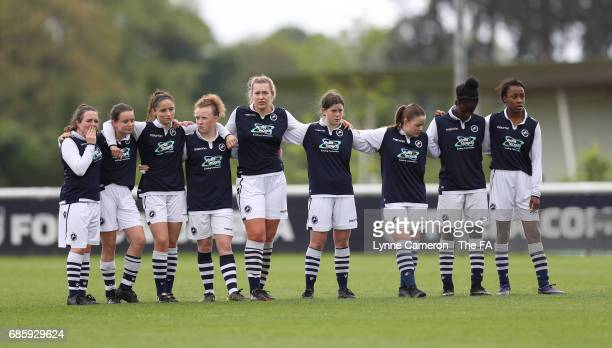 Millwall Lionesses during the penalty shoot out during the FA Girls' Youth Cup Final between Millwall Lionesses U16 Vs Arsenal Ladies U16 at St...
