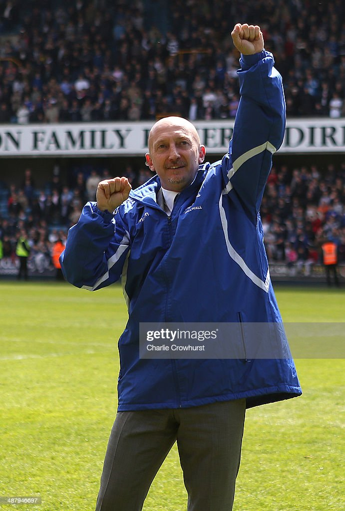 Millwall manager Ian Holloway completes a lap of honour after keeping Millwall safe from relegation during the Sky Bet Championship match between Millwall and Bournemouth at The Den on May 03, 2014 in London, England.
