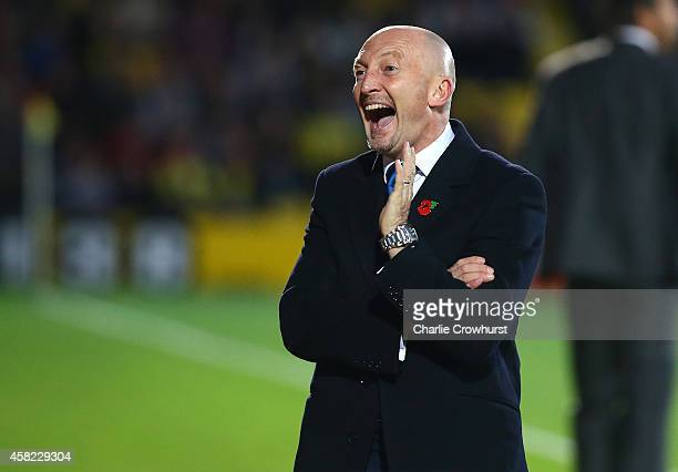 Millwall manager Ian Holloway gets animated on the touchline during the Sky Bet Championship match between Watford and Millwall at Vicarage Road on...
