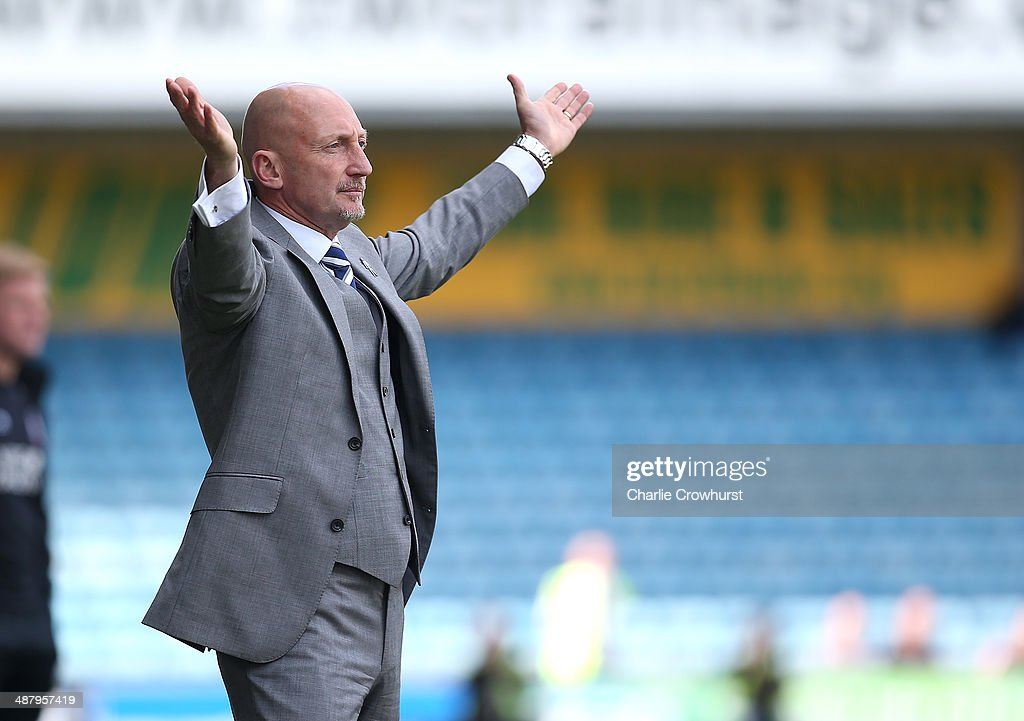 Millwall manager Ian Holloway gets animated on the touchline during the Sky Bet Championship match between Millwall and Bournemouth at The Den on May...