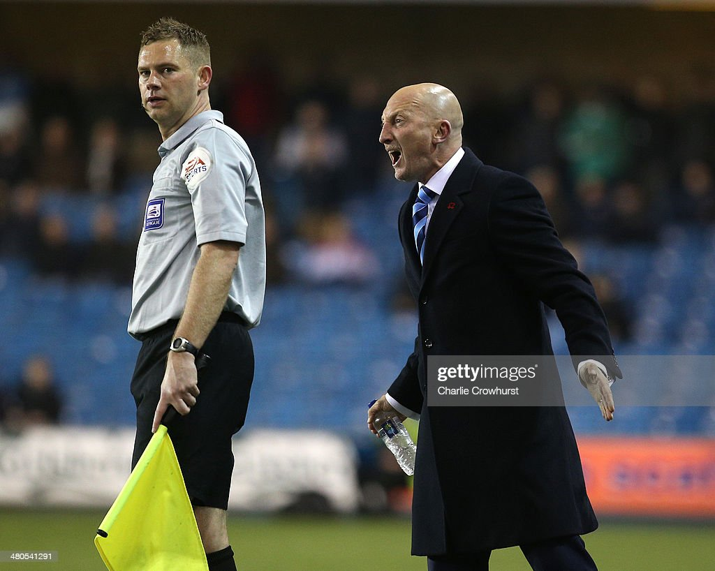 Millwall manager Ian Holloway shouts at the linesman during the Sky Bet Championship match between Millwall and Birmingham City at The Den on March 25, 2014 in London, England.