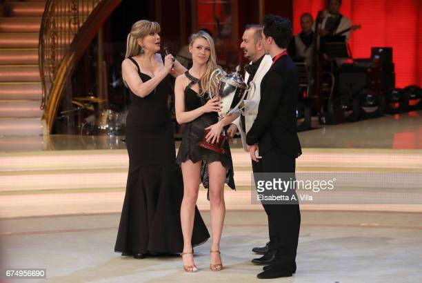 Milly Carlucci and Martina Stella winner of the 3rd place attend the Italian TV show 'Ballando Con Le Stelle' at Auditorium Rai on April 29 2017 in...